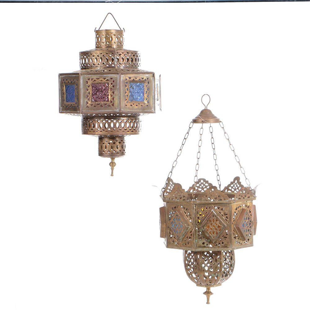 Moroccan Reticulated Brass Lanterns