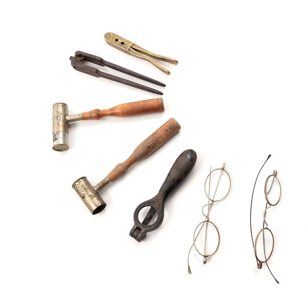 Antique UH Co Powder Drams, Assorted Tools and Wire Spectacles