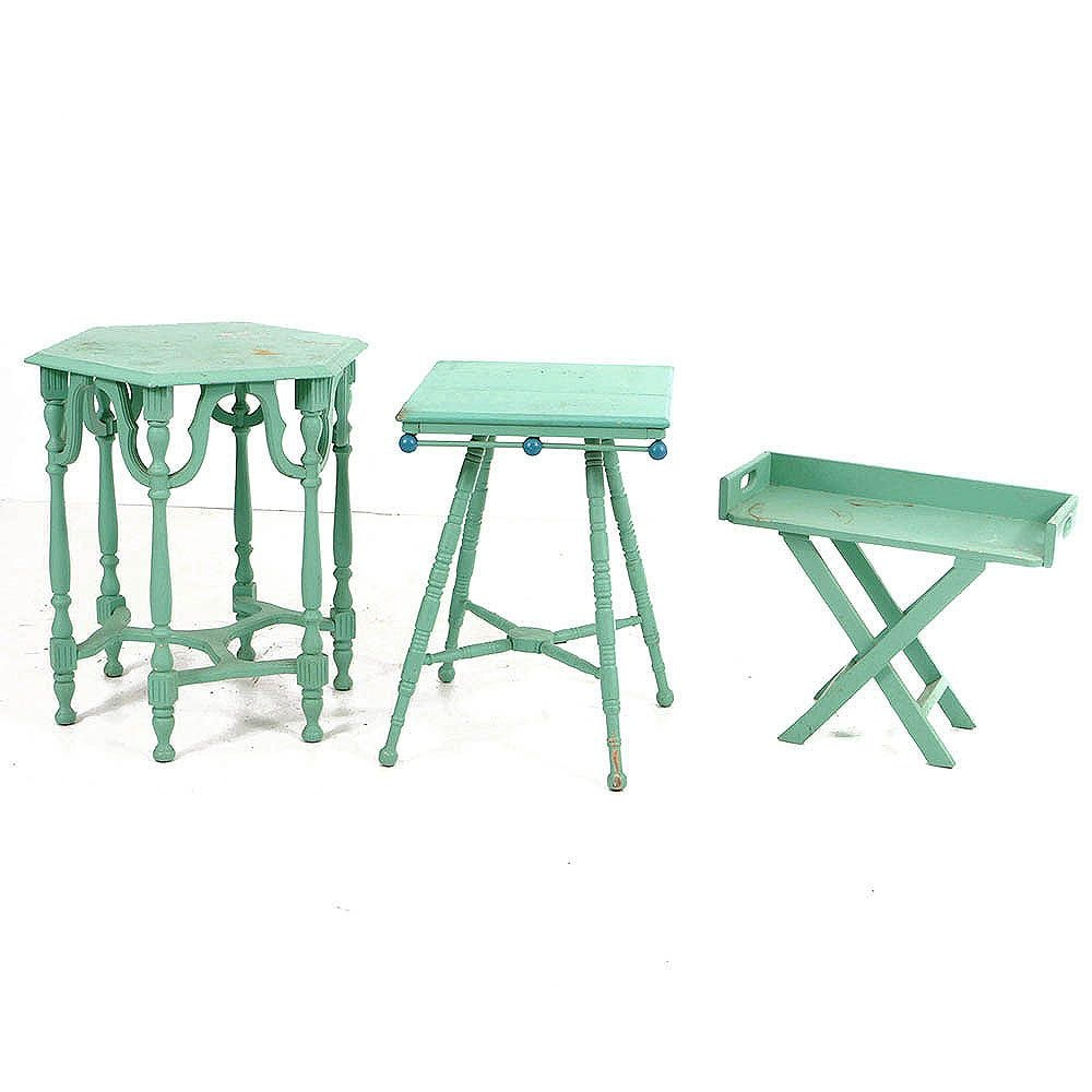 Antique and Vintage Tables and Stand in Later, Green Paint