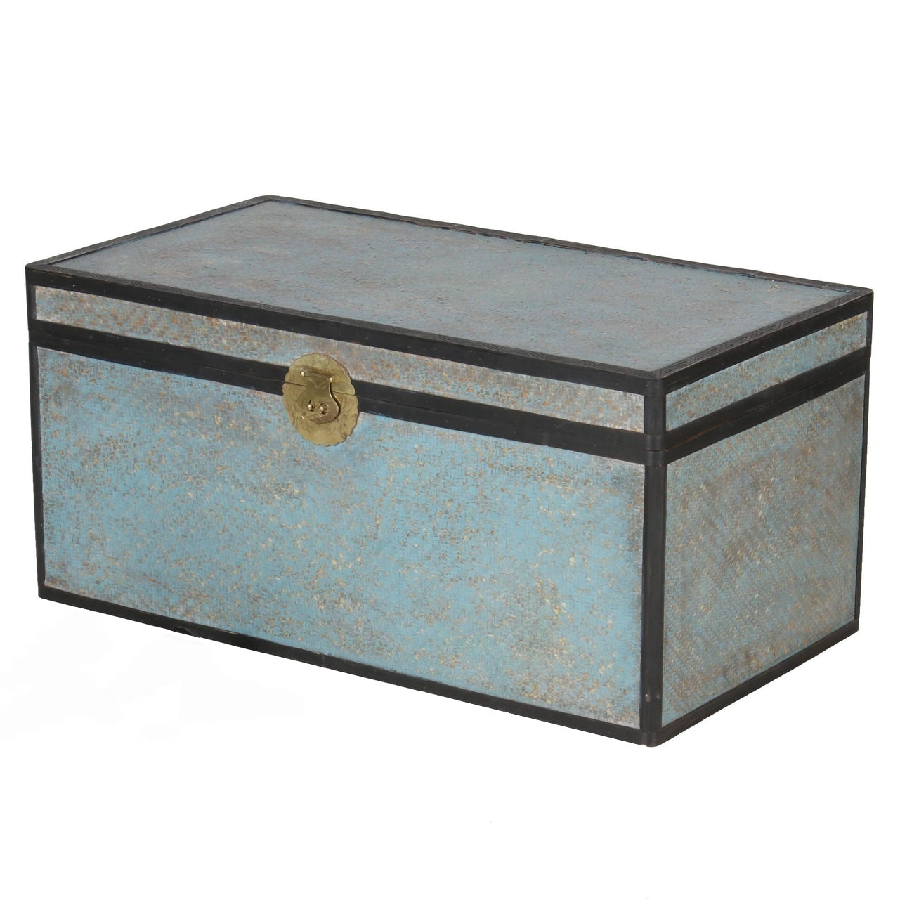 Vintage Chinese Rattan Blue-Painted Trunk