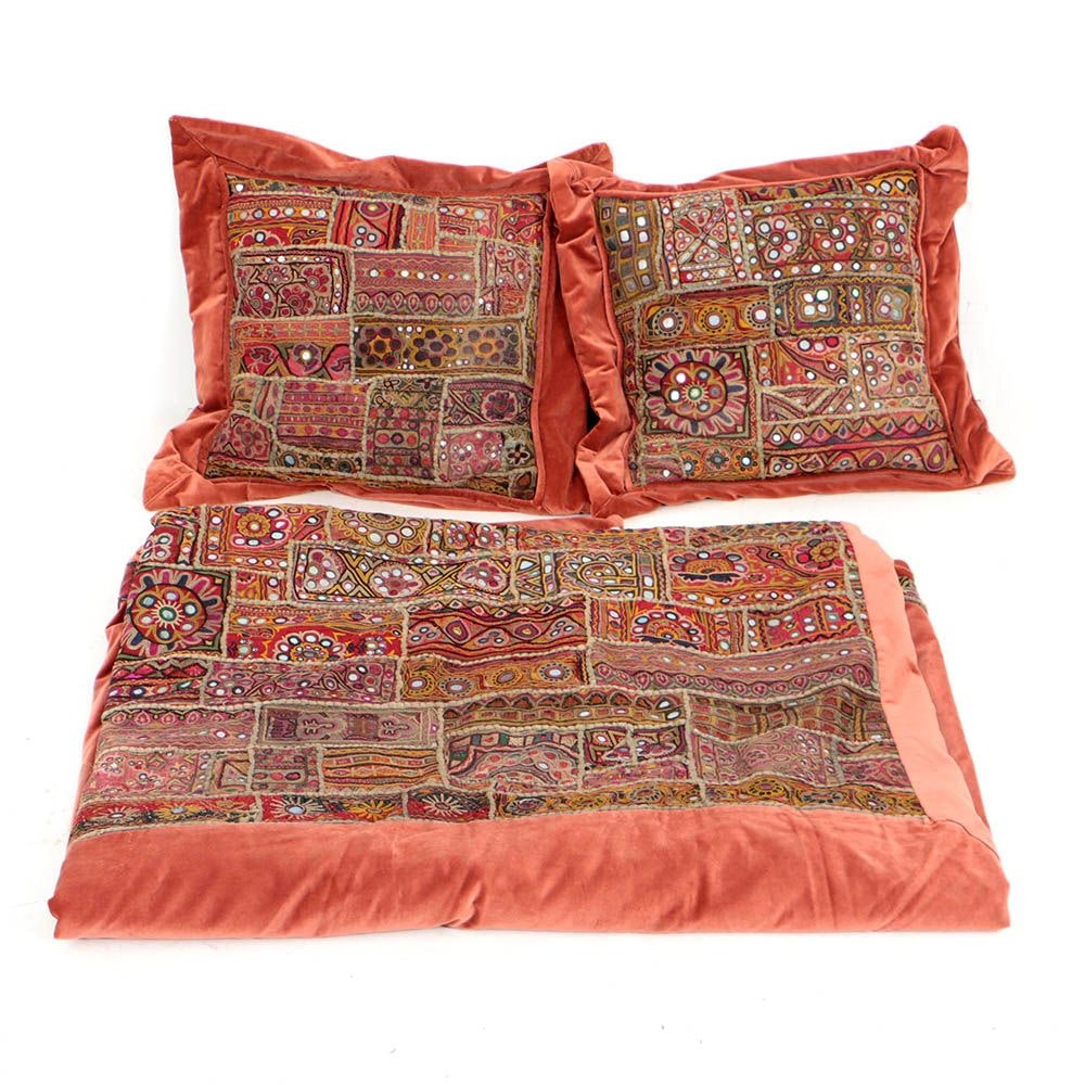 Embroidered and Embellished Textile Pillows and Bed Covering