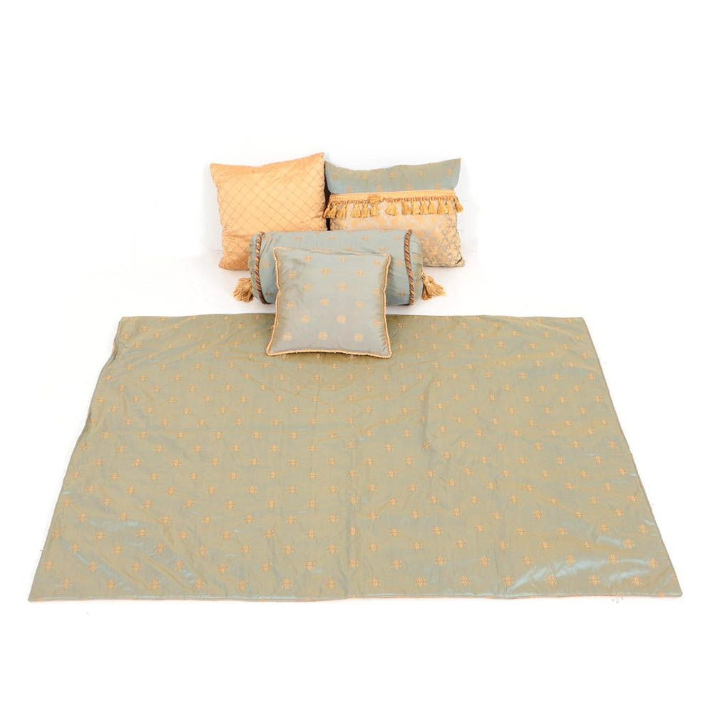 Custom Made Silk Accent Pillows and Throw