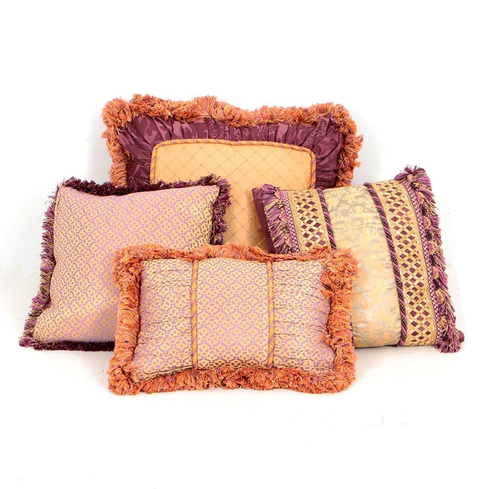 Lilac and Gold Tone Accent Pillows with Fringe Trim