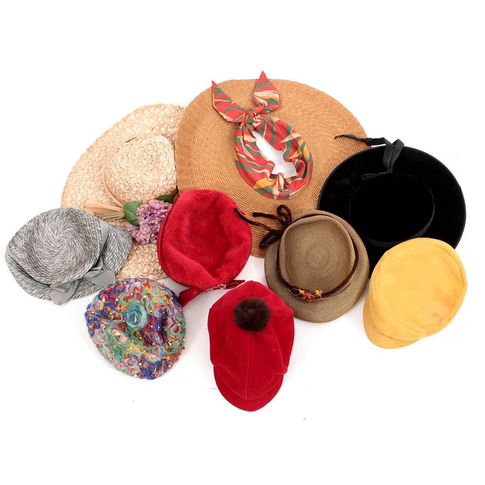 Women's Vintage Hats Including Gene Kittrell, Gus Mayer and Norman Durand