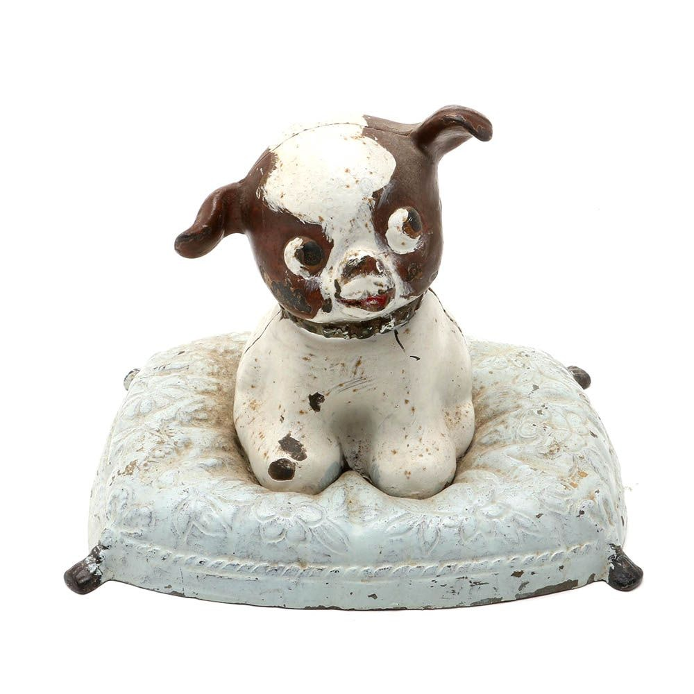 "C. 1930s Hubley ""Fido On Pillow"" Cast Iron Doorstop"