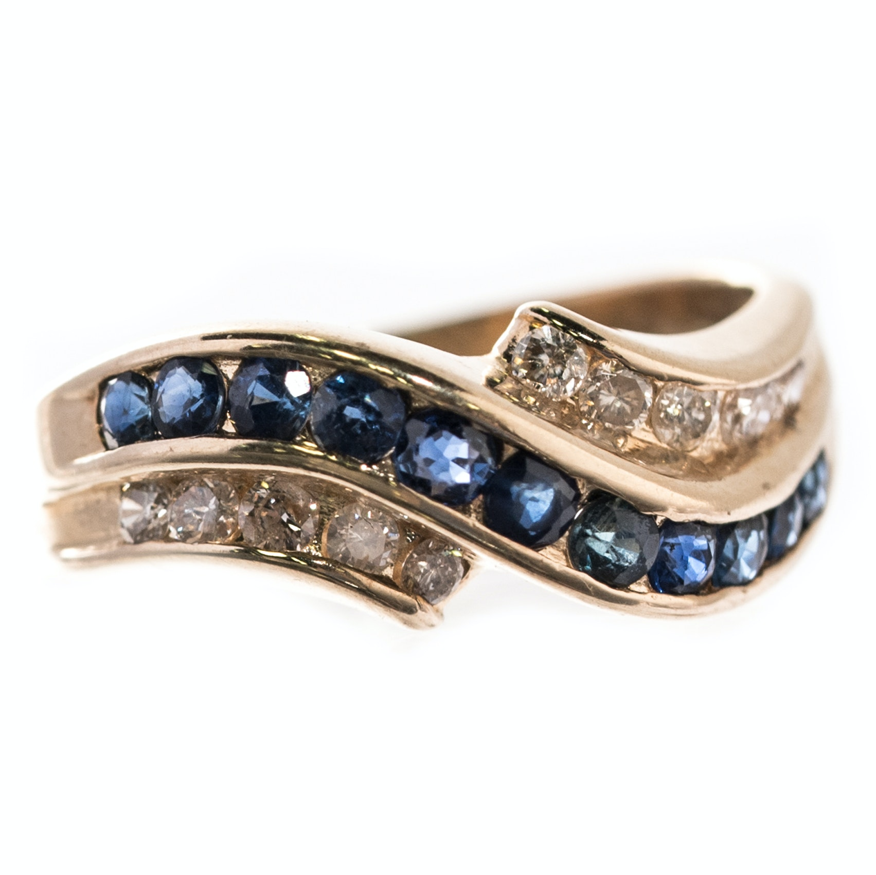 14K Yellow Gold, 1.00 CTW Sapphire, and Diamond Channel Set Ring