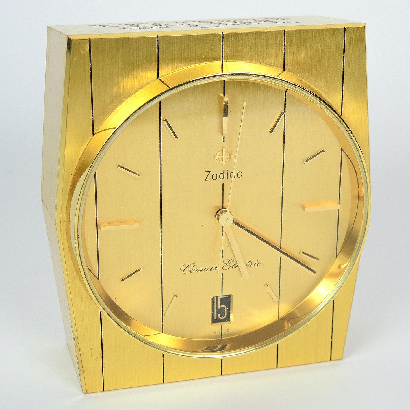 Vintage Swiss Zodiac Corsair Electric Desk Clock