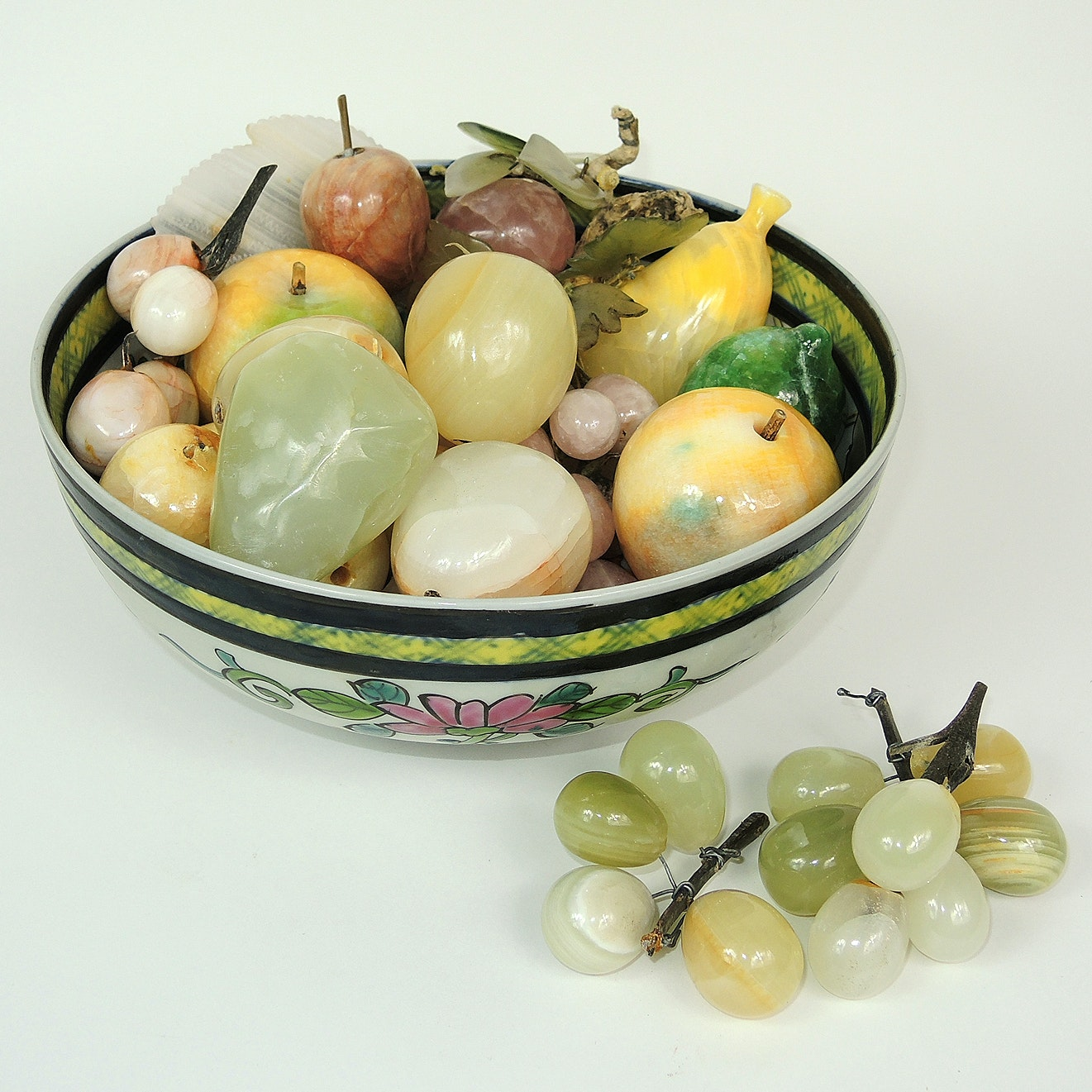 Mexican Carved Onyx Fruit with Hand Painted Bowl