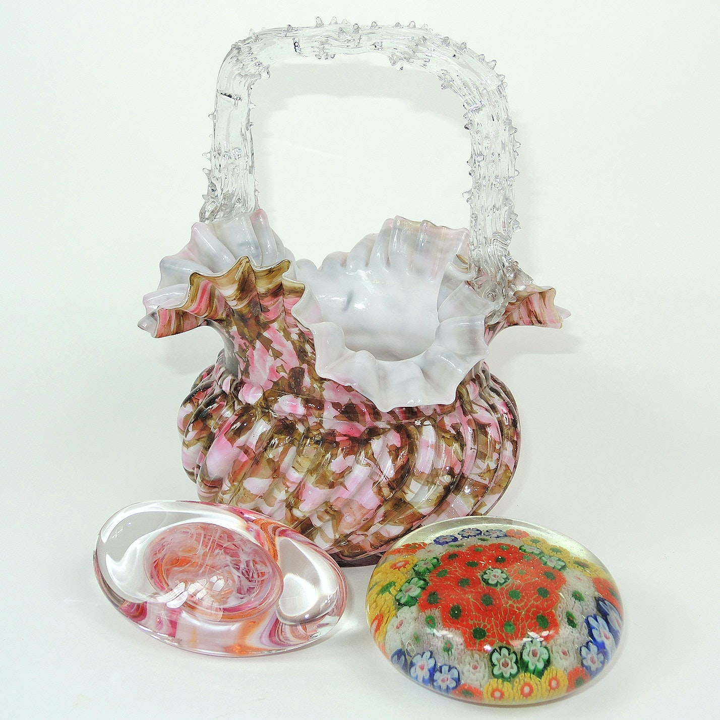 Blown Glass Ruffle Basket and Paperweights