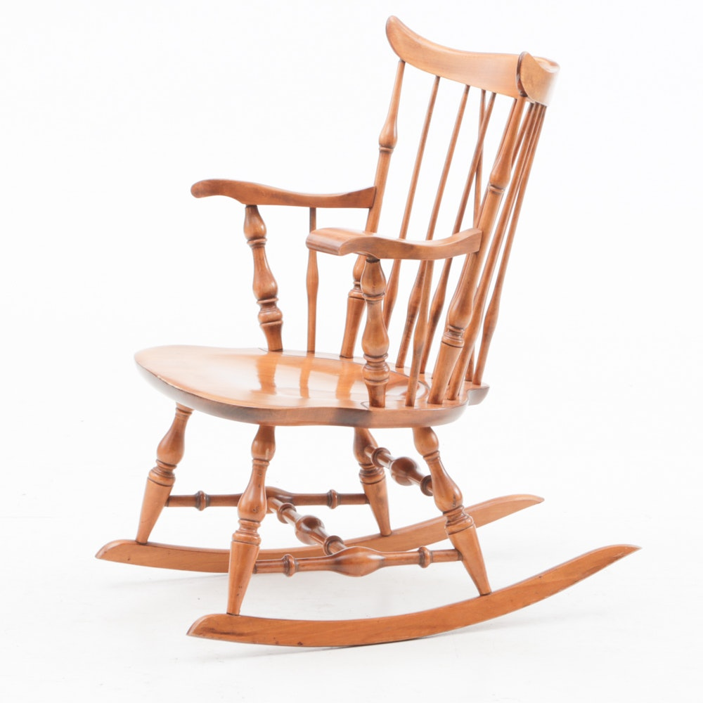 Circa 1950 Nichols and Stone Maple Colonial Style Rocking Chair