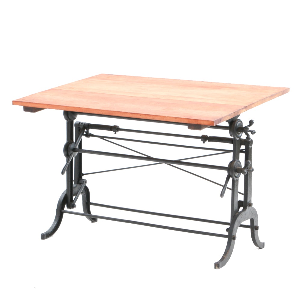 Antique Wrought Iron and Maple Drafting Table