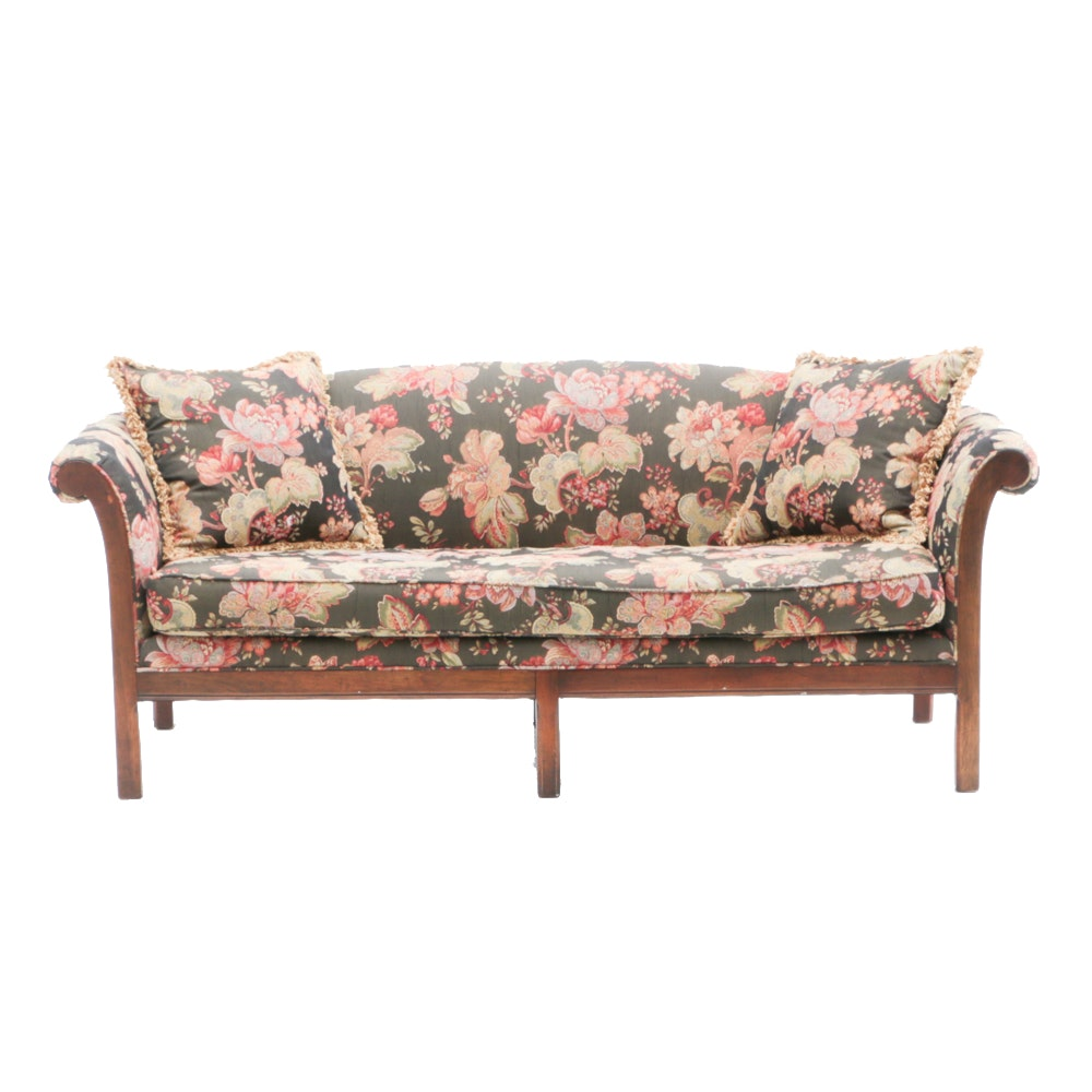 Maple Framed Floral Upholstered Sofa