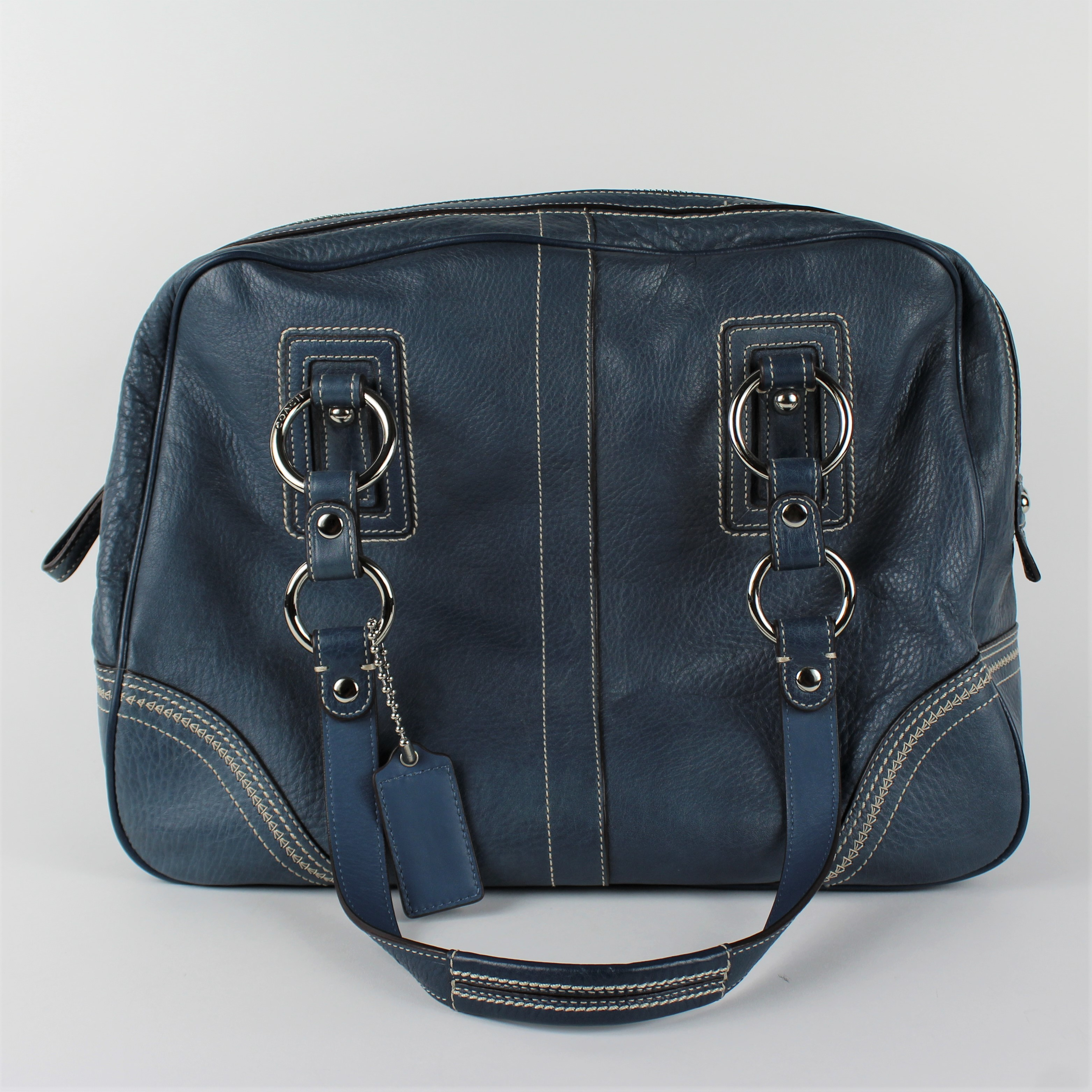a15b27a81a ... germany coach blue leather satchel handbag b7f2e b002f