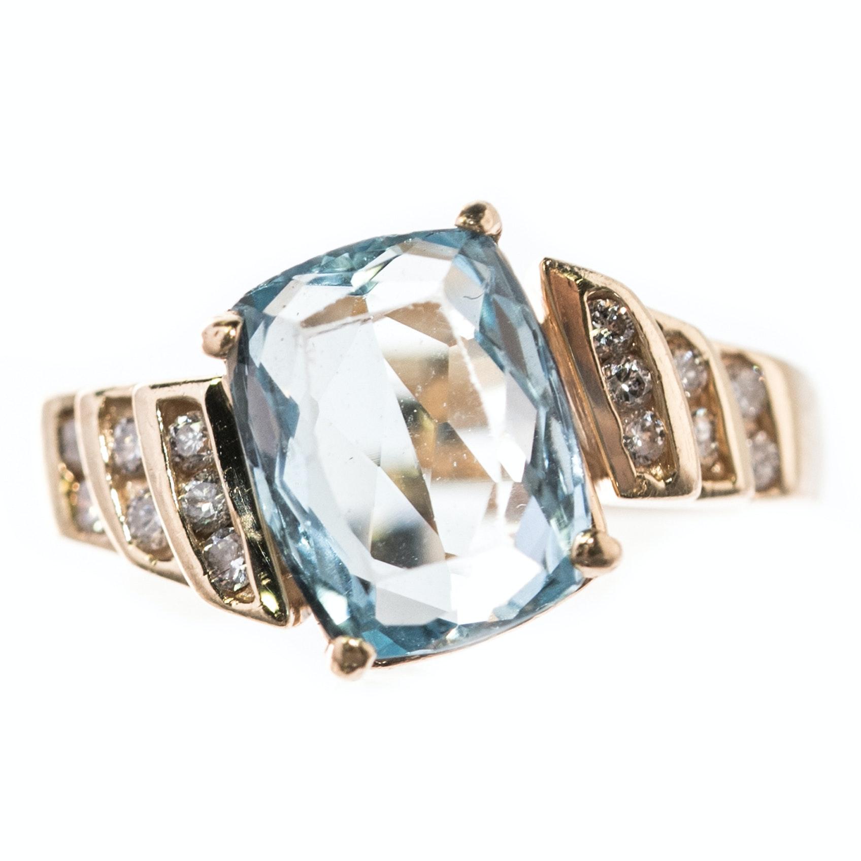14K Yellow Gold, 2.62 CT Aquamarine and Diamond Ring
