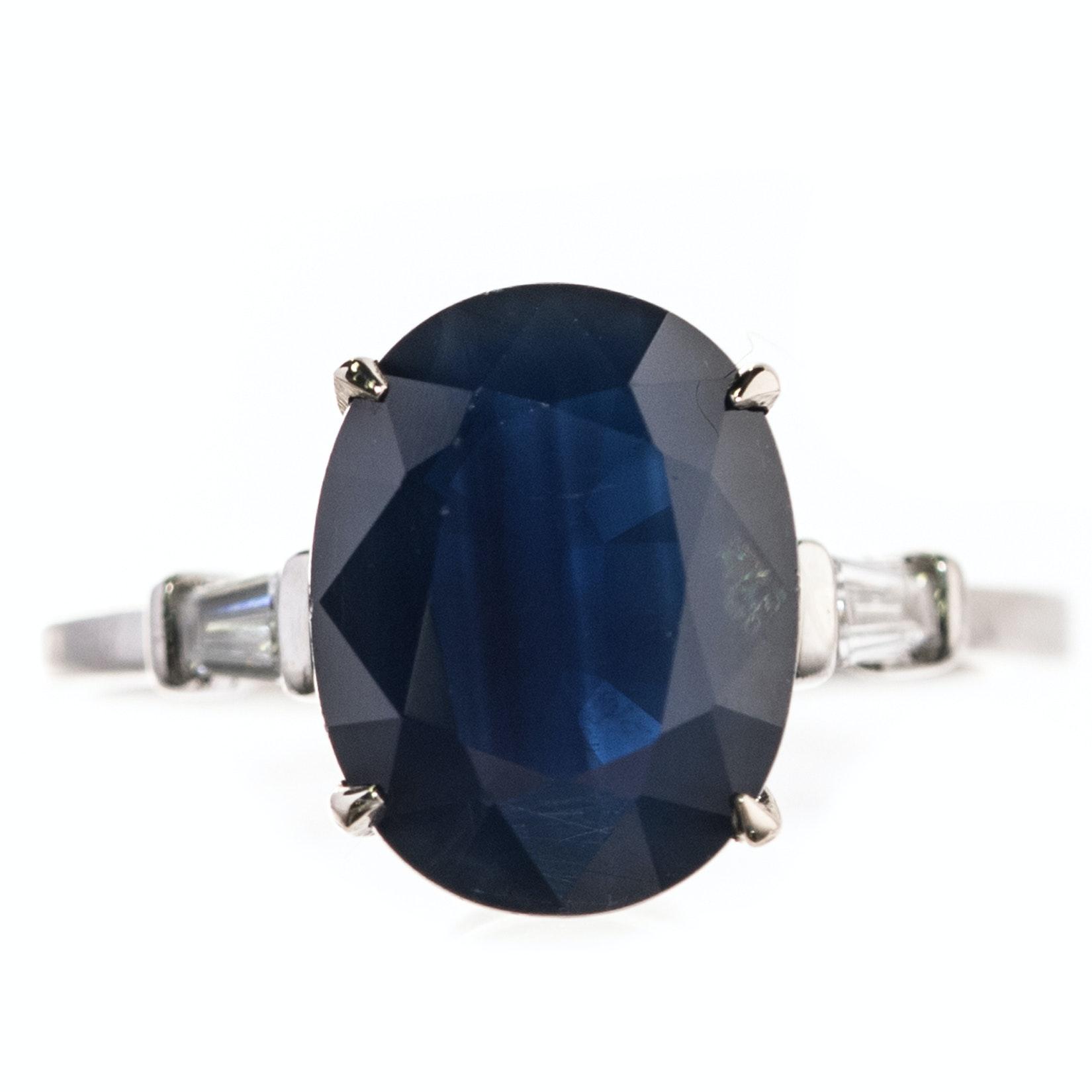 Platinum, 5.10 CT Sapphire, and Diamond Ring