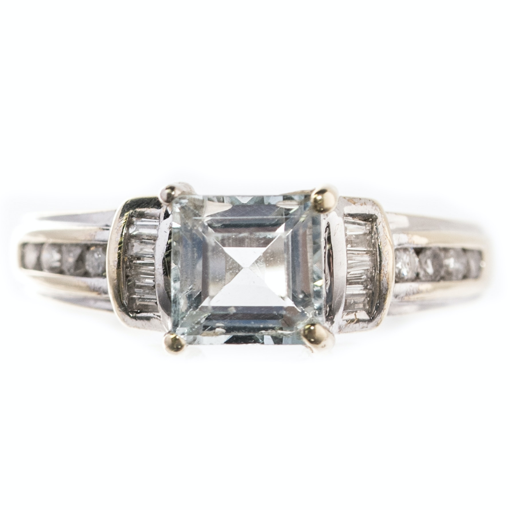 14K Yellow and White Gold, Aquamarine, and Diamond Ring