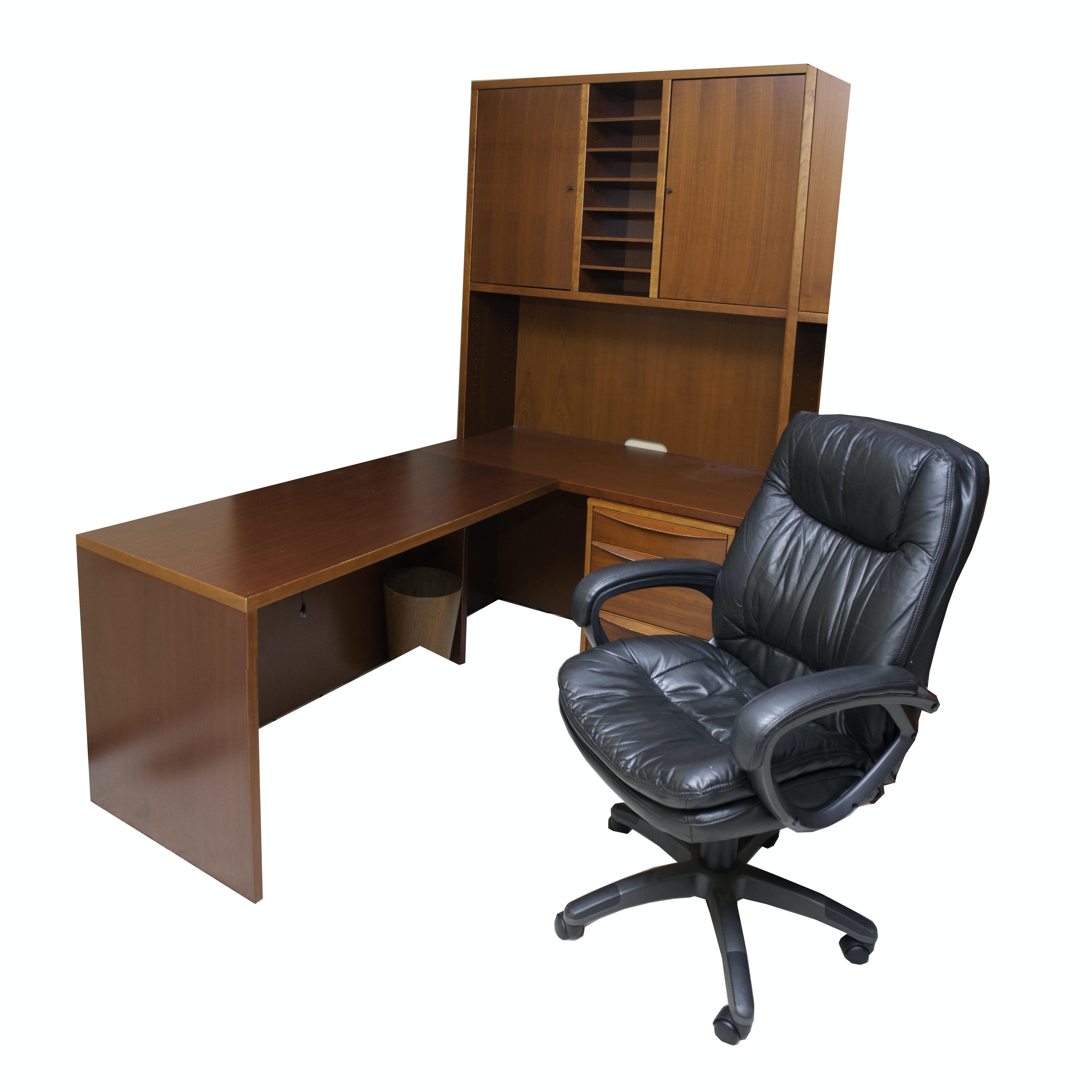 Jesper Modular Cherry Wooden Cubicle Desk and Chair