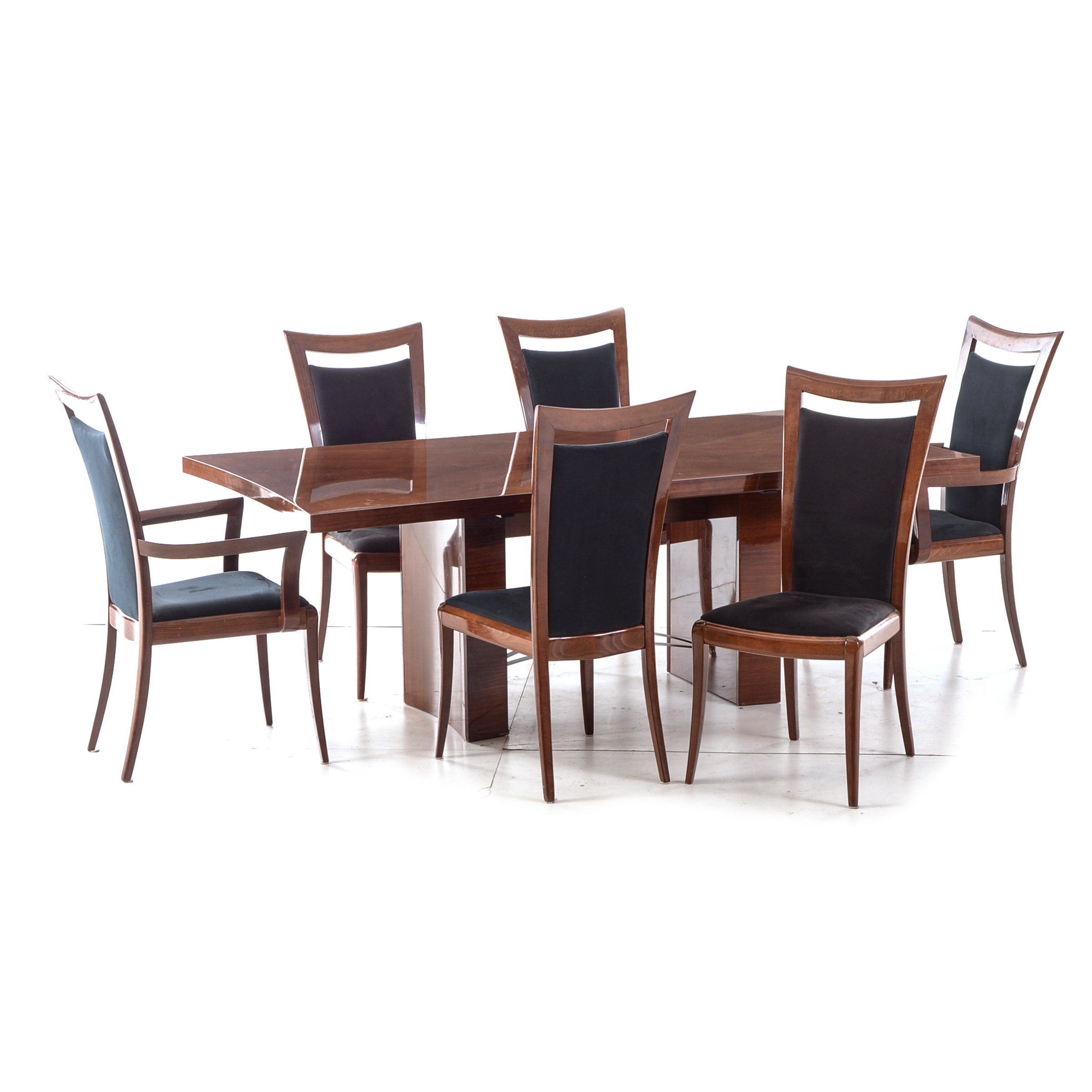 Italian Modern Walnut Dining Table and Six Chairs