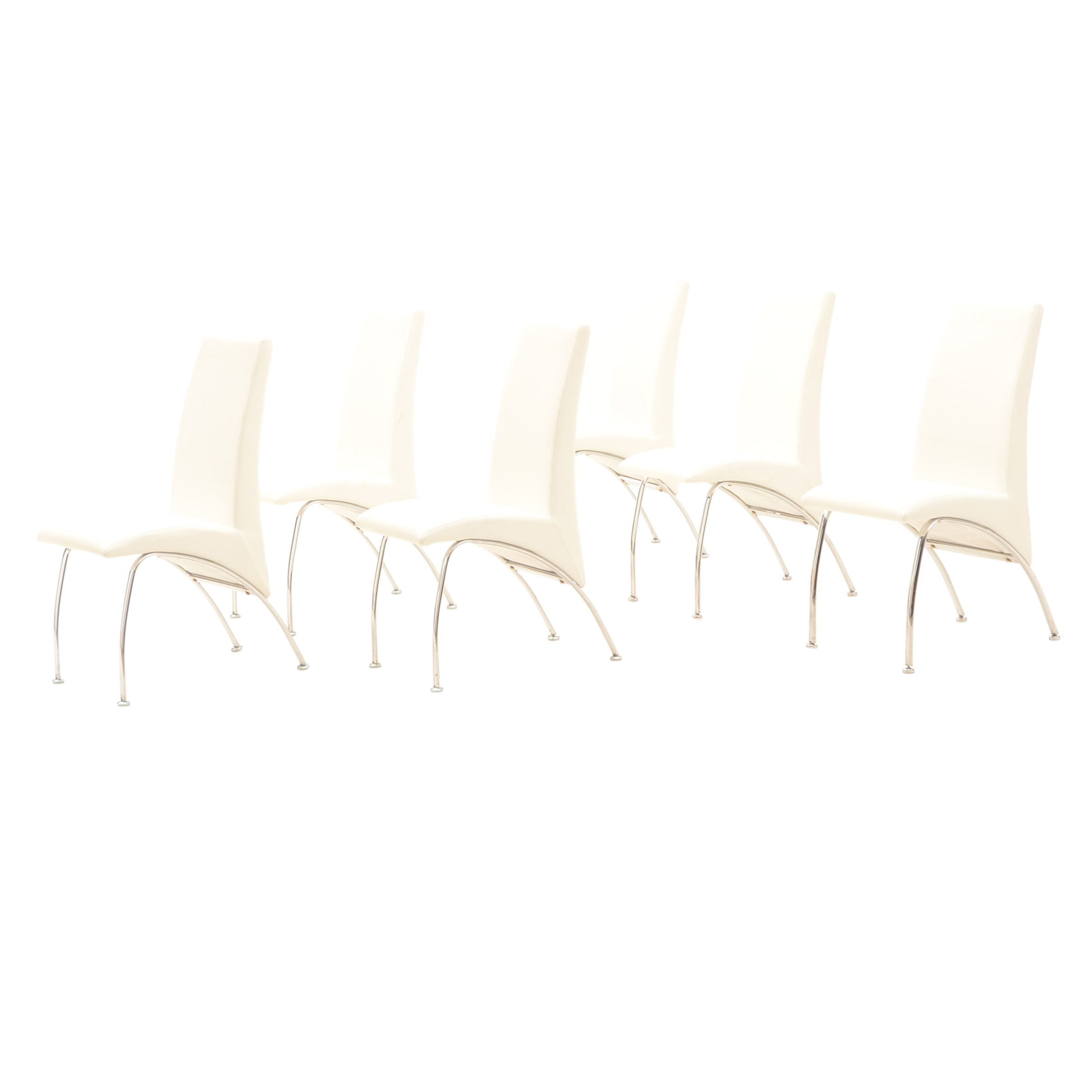 White Vinyl and Chrome Dining Chairs