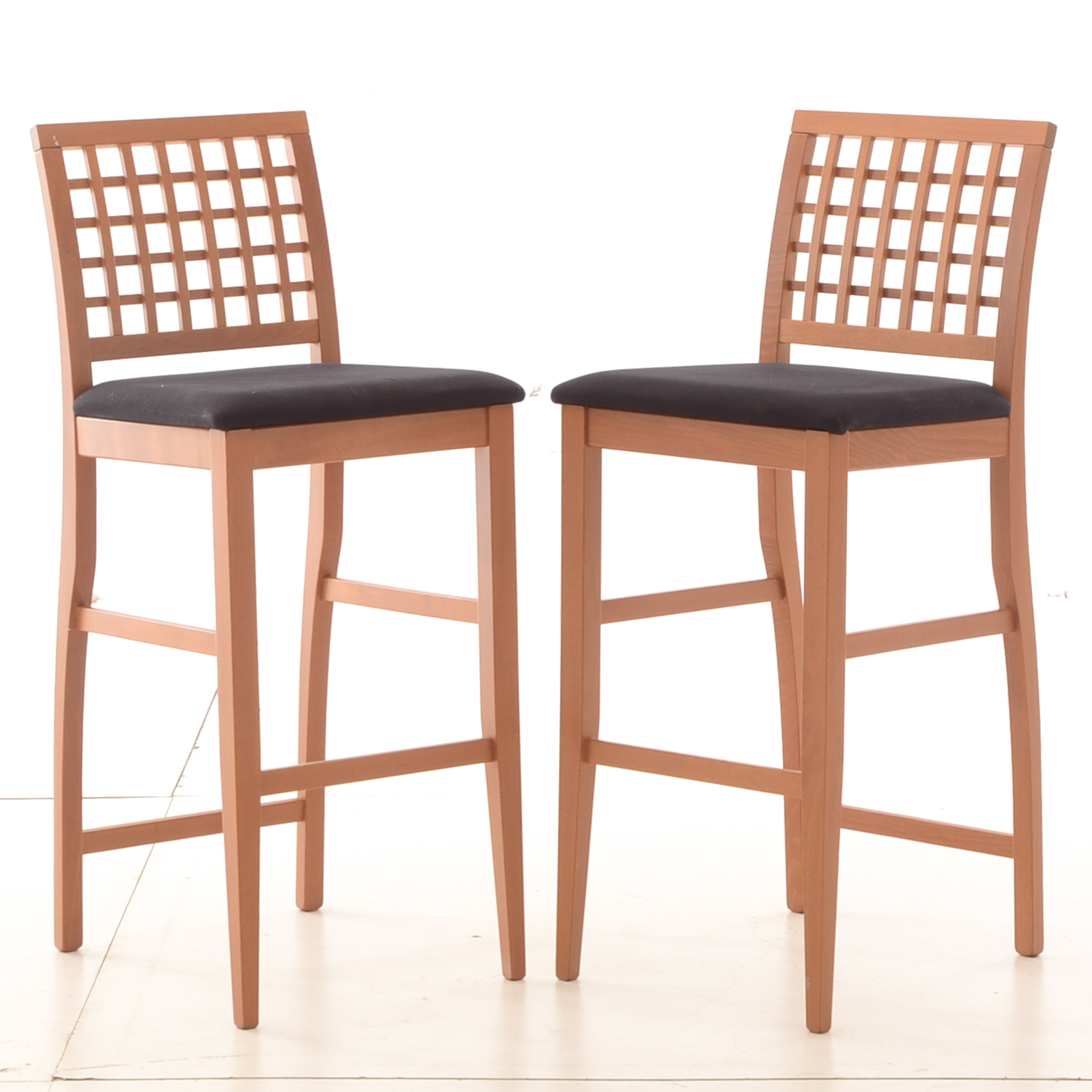 Linon Home Wooden Cross Slat Back Barstools with Upholstered Seats