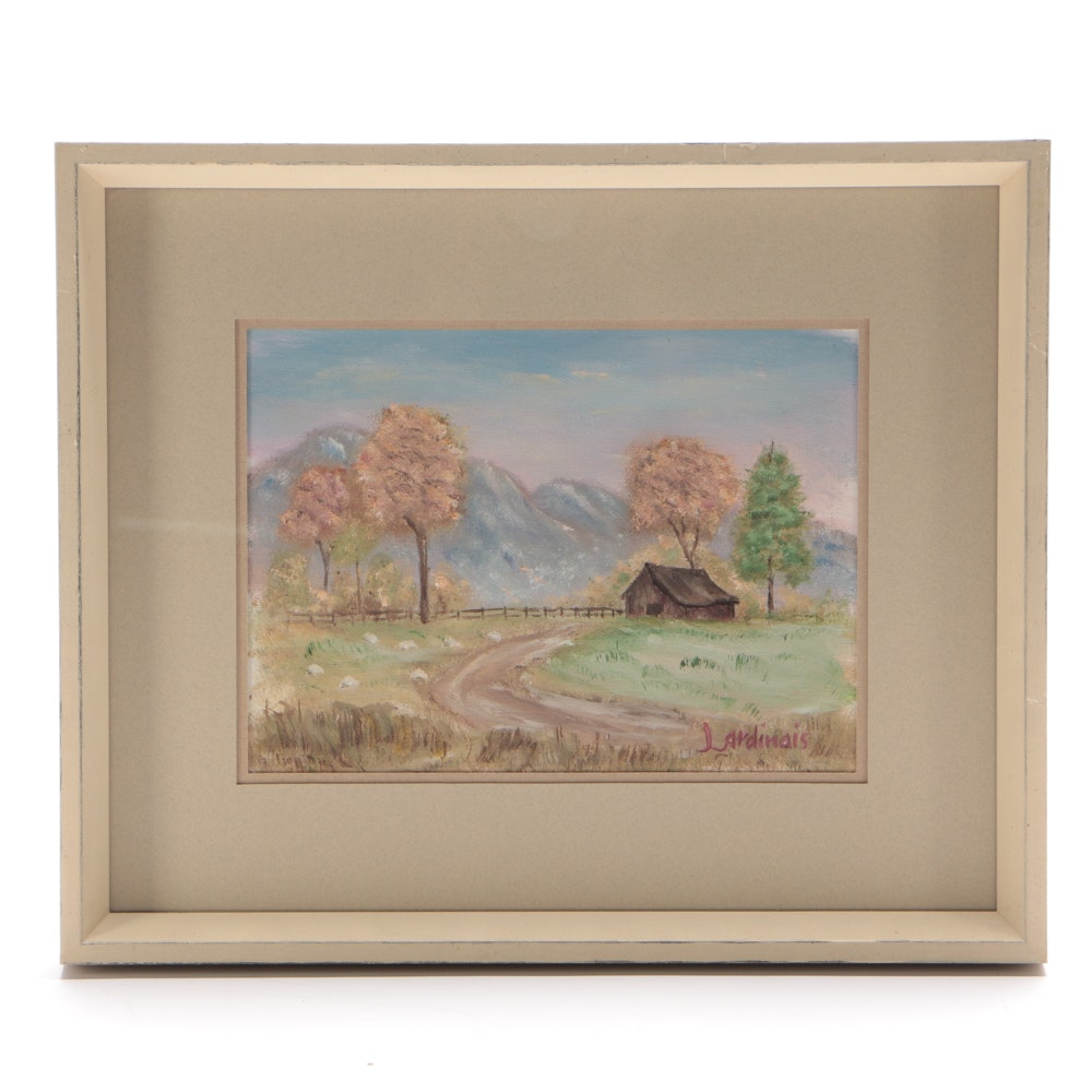 Lardinais Oil Painting on Canvas Board of Pastoral Landscape