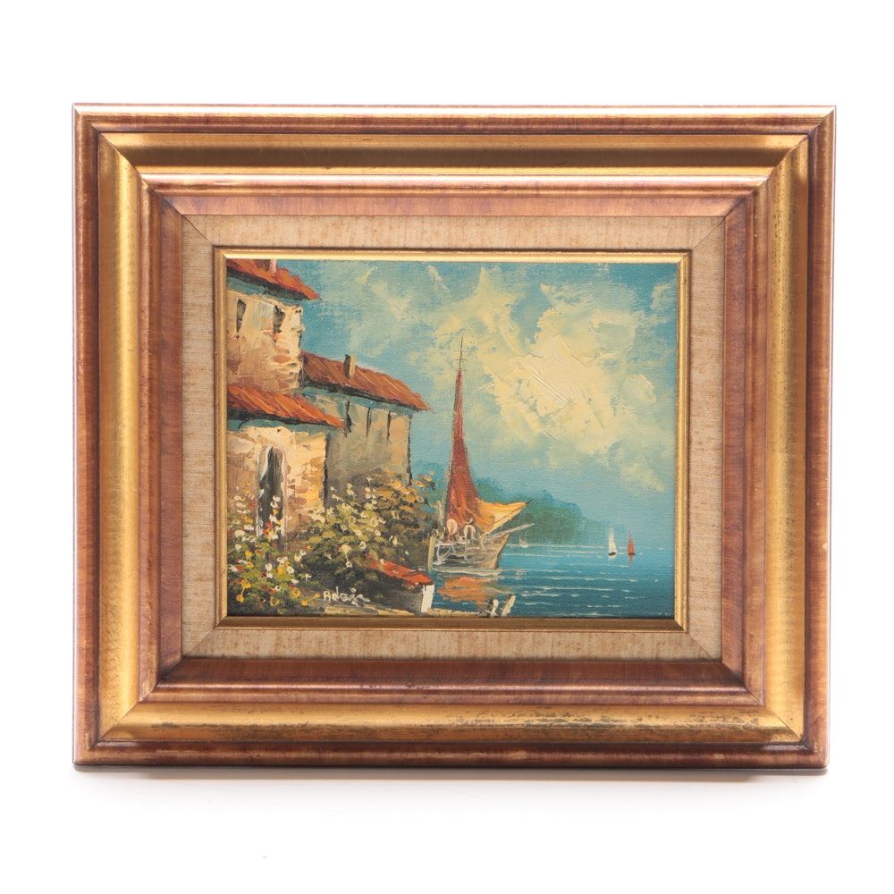 Adair Signed Oil Painting on Canvas of Mediterranean Scene