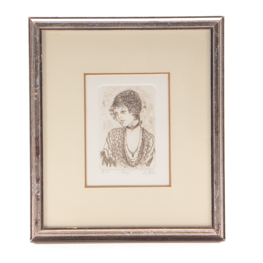 "Mary Vickers Signed Artist's Proof Embellished Etching on Paper ""Gay"""