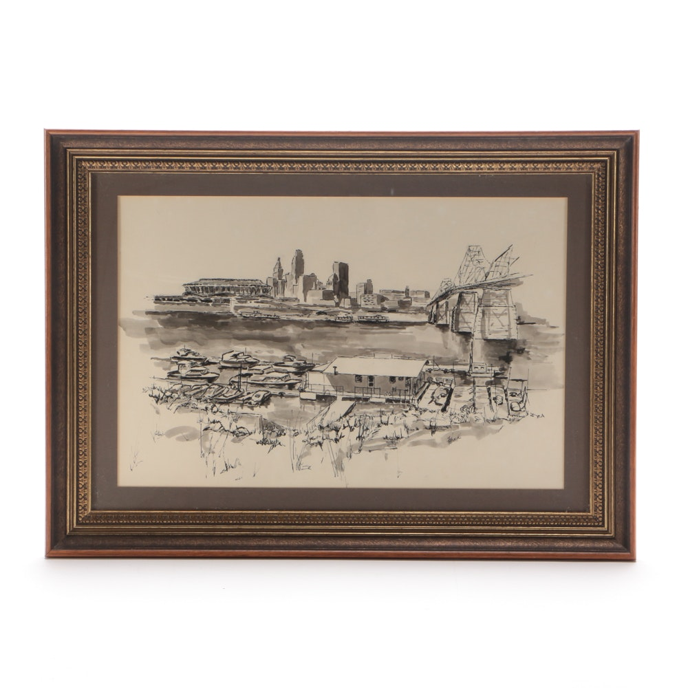 Freida Houck Vintage Ink Drawing on Paper of Cincinnati Skyline