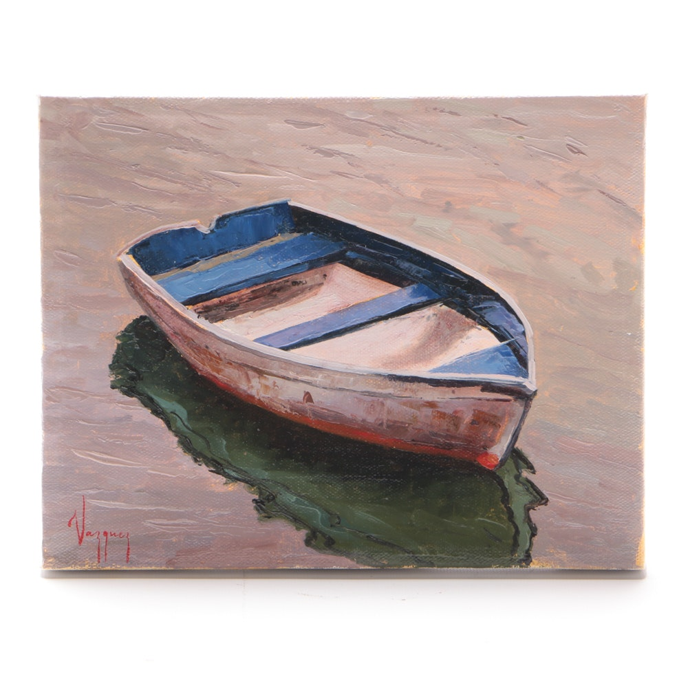"Marco Vazquez Original Oil Painting on Canvas ""Old Boat"""