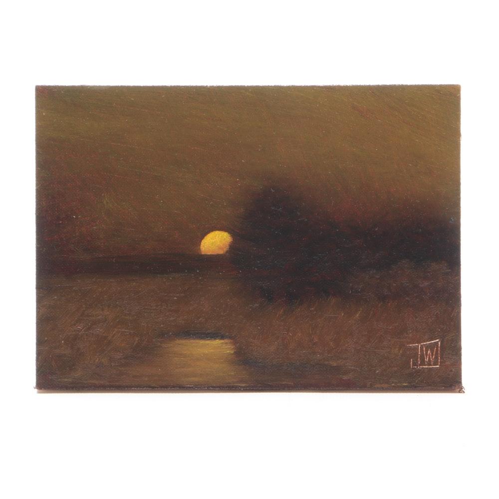 Joe Wojdakowski Oil on Board Tonalist Landscape Painting