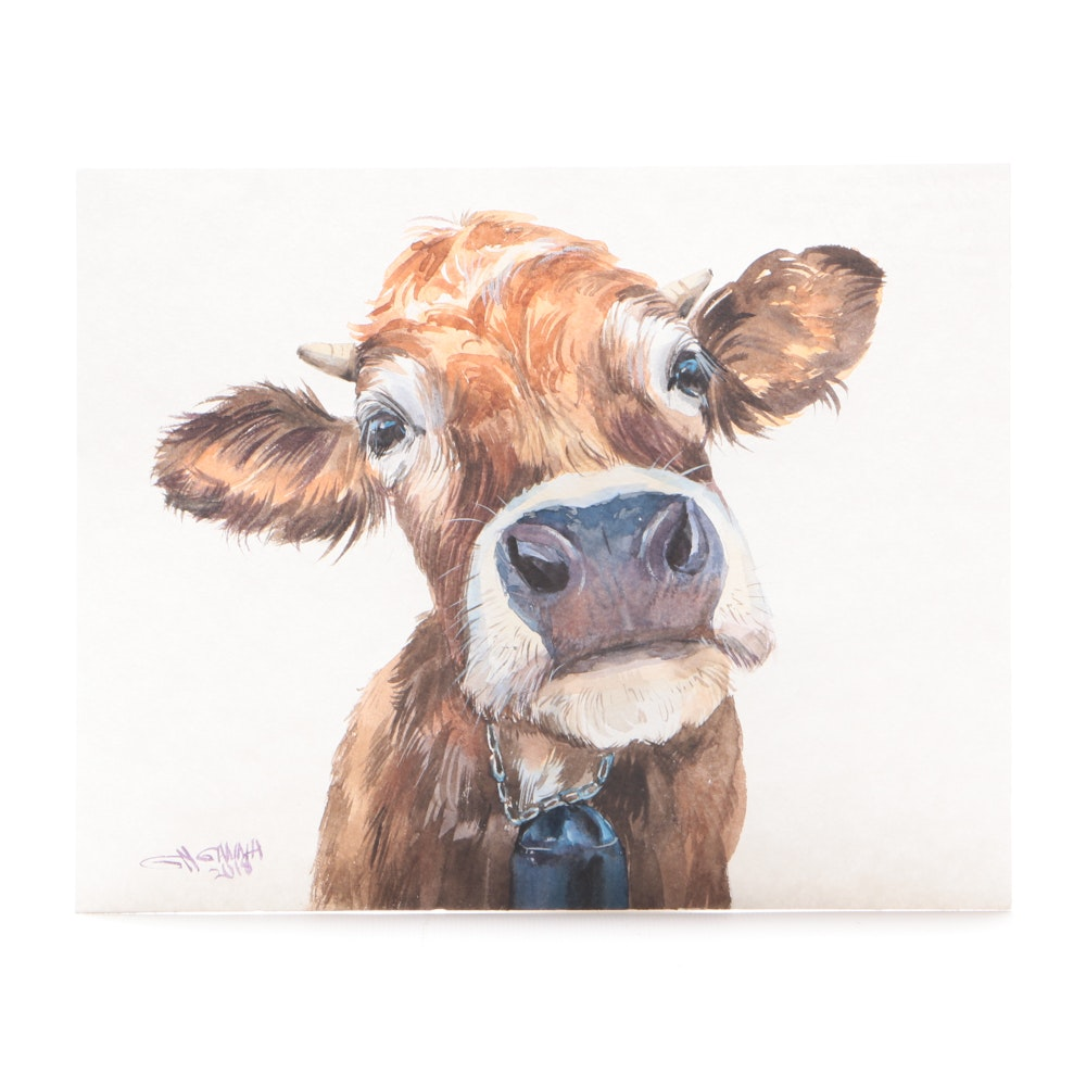 "Ganna Melnychenko Original Watercolor Painting ""Rusty Calf Portrait"""