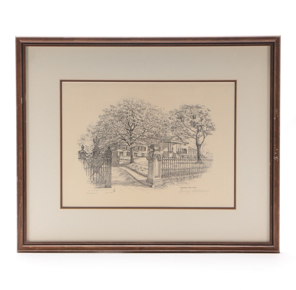George Williams Signed 1971 Lithograph after Pen & Ink Drawing of Taft Museum