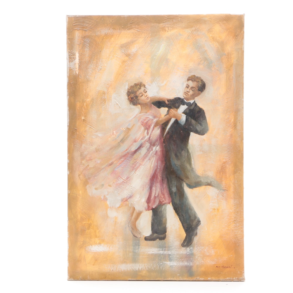 M. Harold Oil Painting on Canvas of Dancing Couple