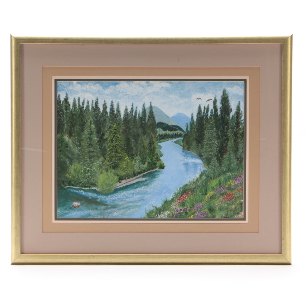 Roy Pryse Oil Painting on Canvas Board of Verdant River Valley