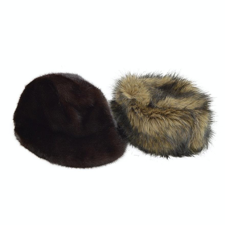 8db5edaea Vintage Black Mink Fur Hat and Obermeyer Faux Fur Hat
