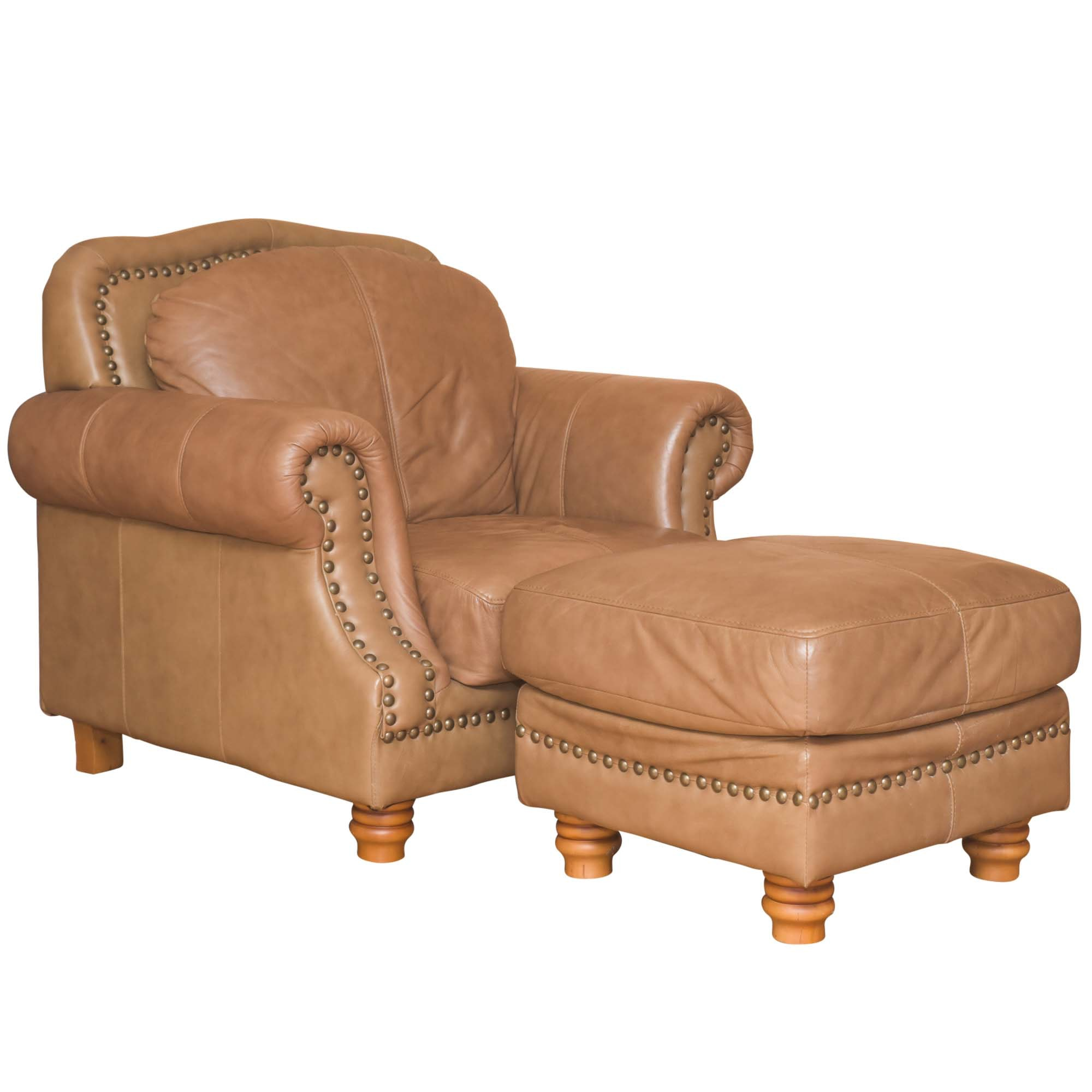 Light Brown Leather Armchair and Ottoman