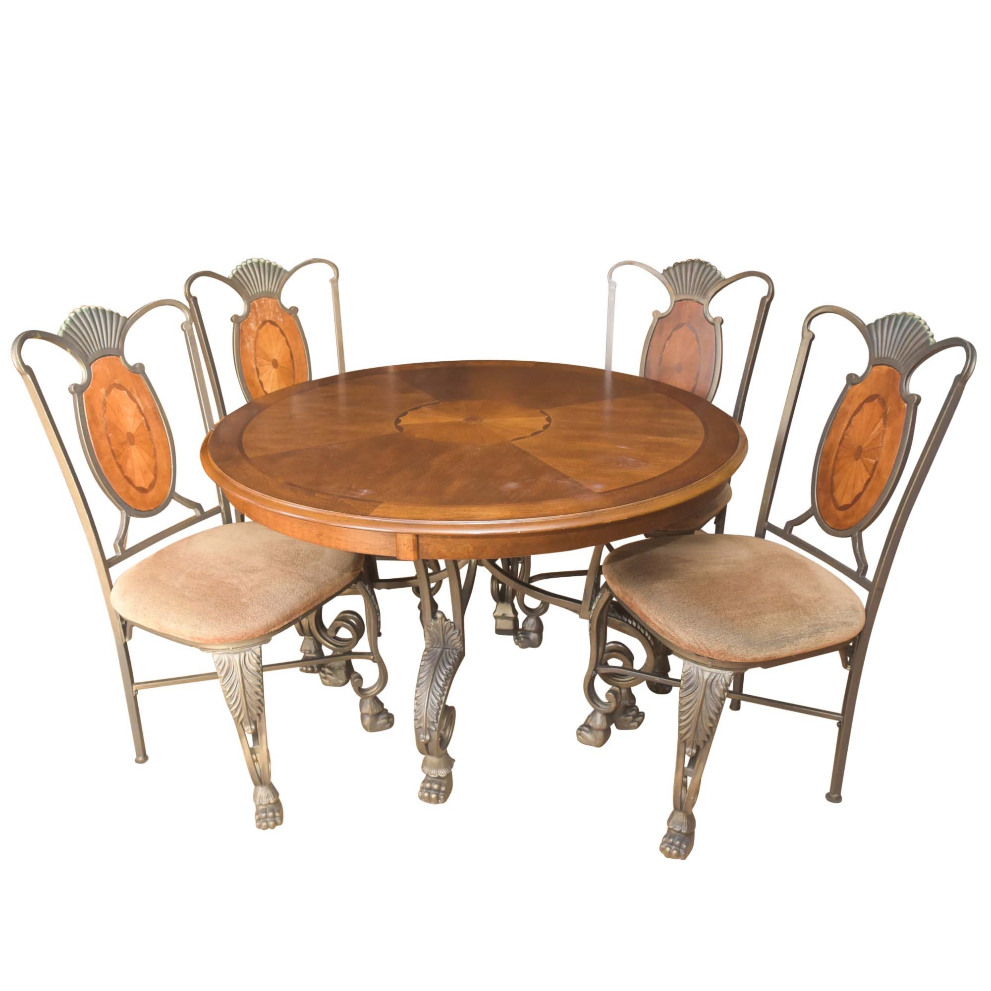 Neoclassical Style Dining Table with Side Chairs by Ashley Furniture
