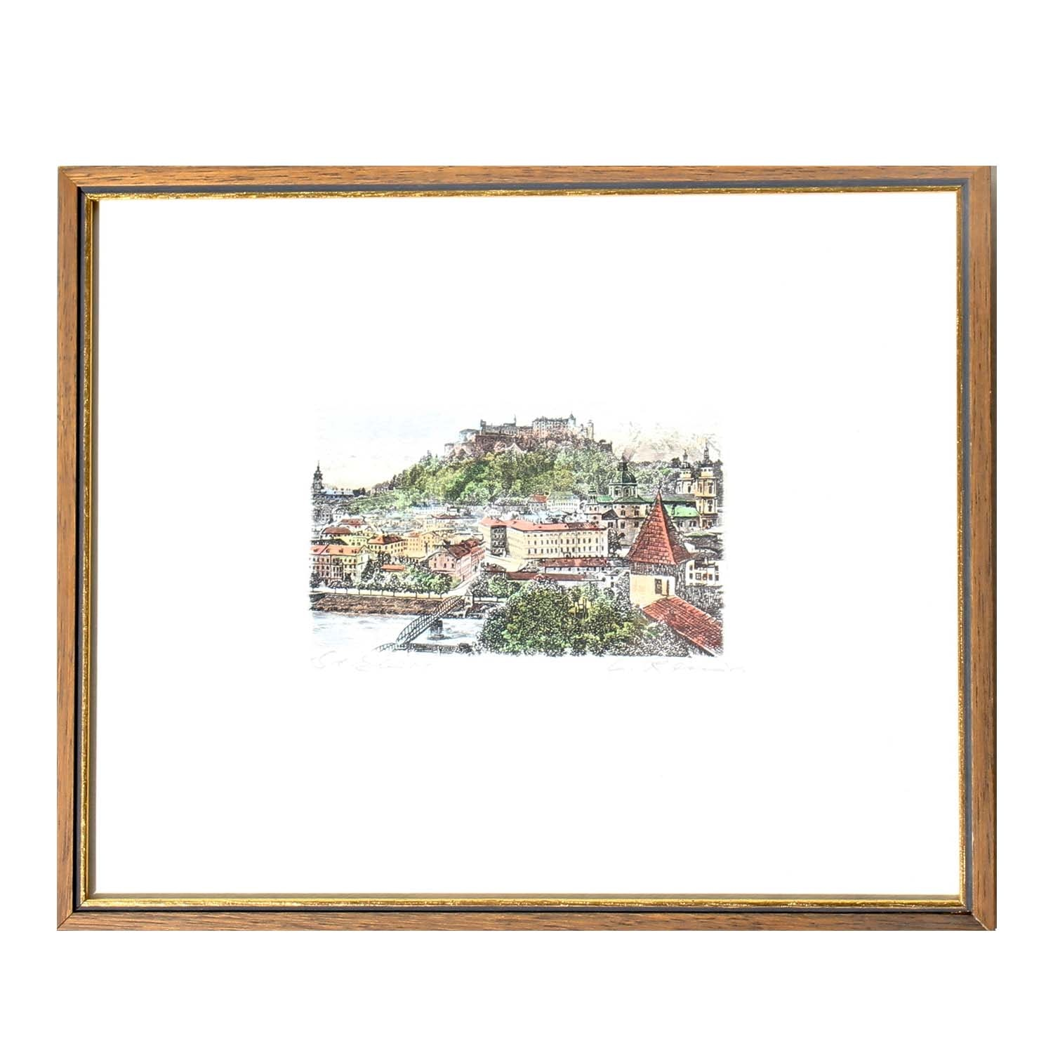 Hand-colored Etching of European City
