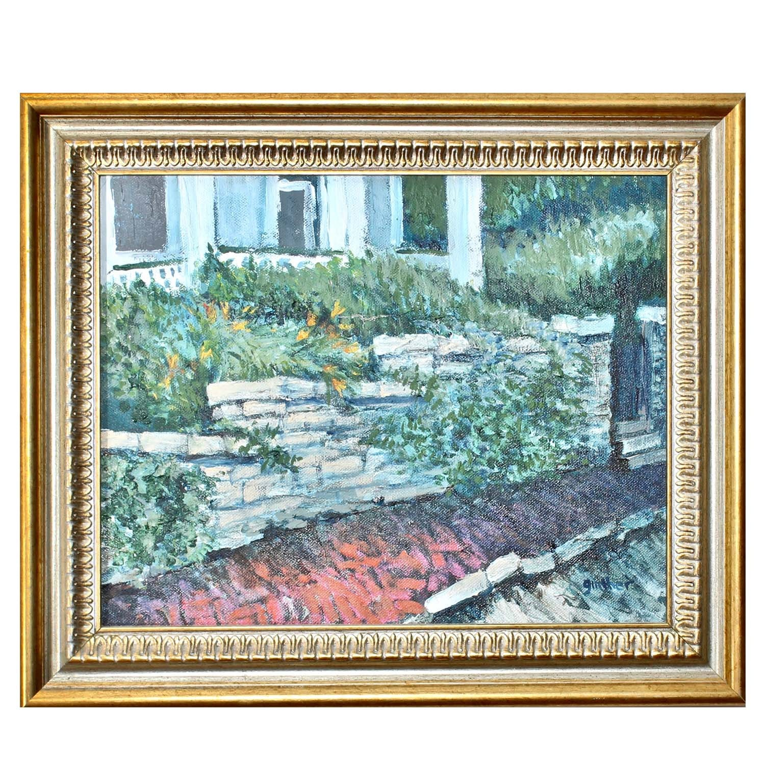 Ginther Original Oil on Canvas of Stone-walled Flower Garden