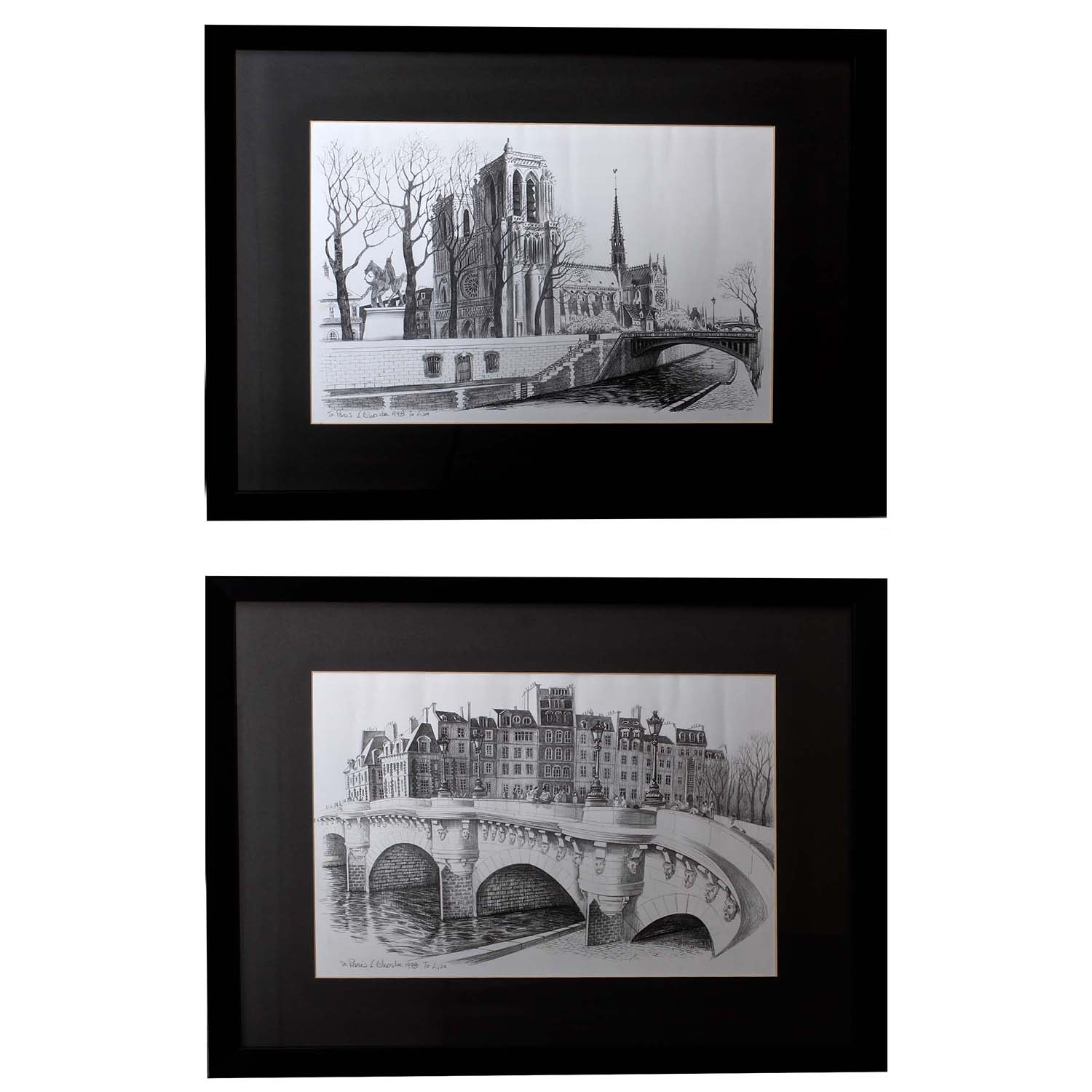 F. Dhoska Black and White Lithographs of Parisian Street Scenes