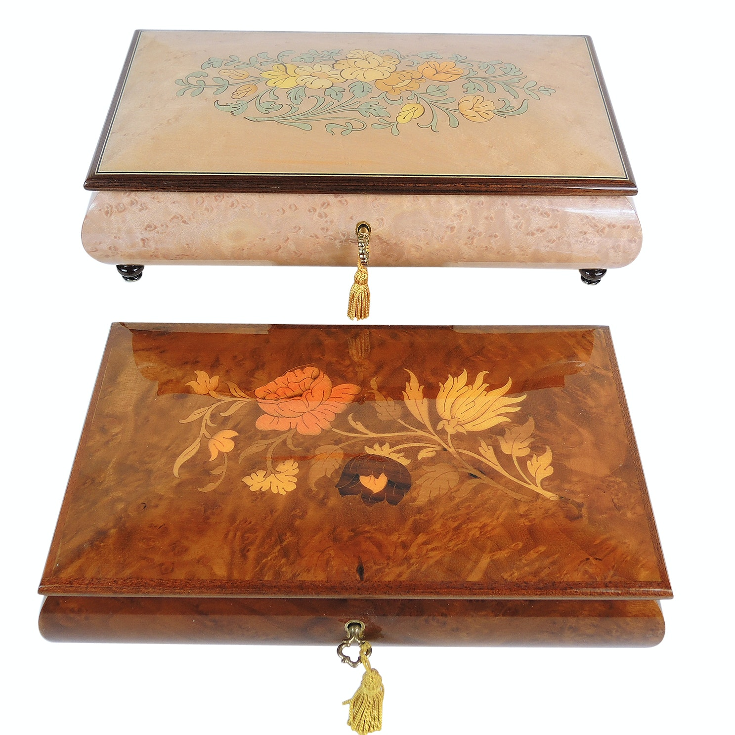 Two Wood Inlay Reuge Music Boxes with Keys