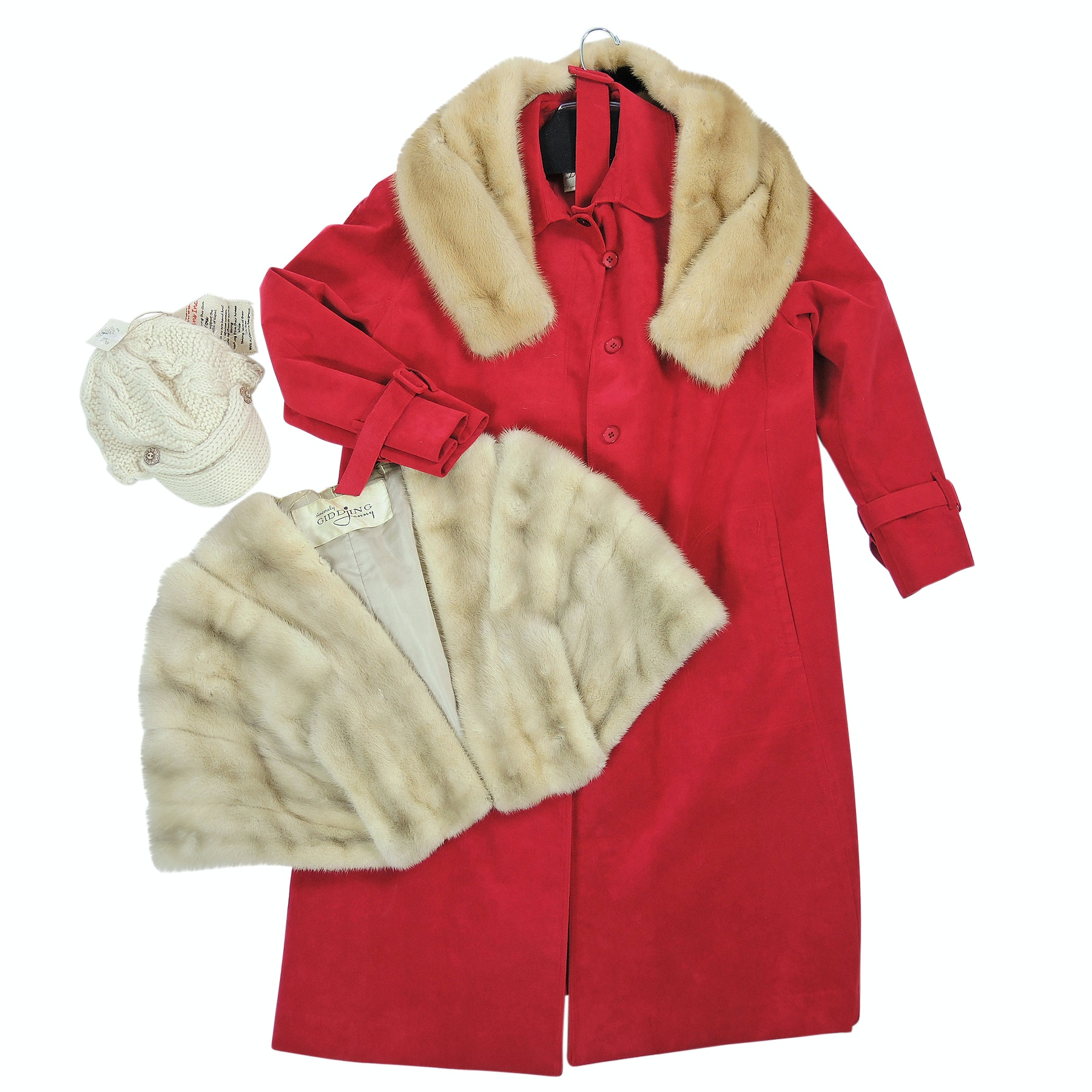 Adolph Schuman Ultrasuede Coat with Mink Fur Stole, Mink Fur Collar and Knit Cap
