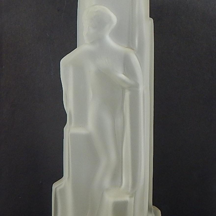 Vintage Art Deco Nude Clear Satin Glass Vase Ebth