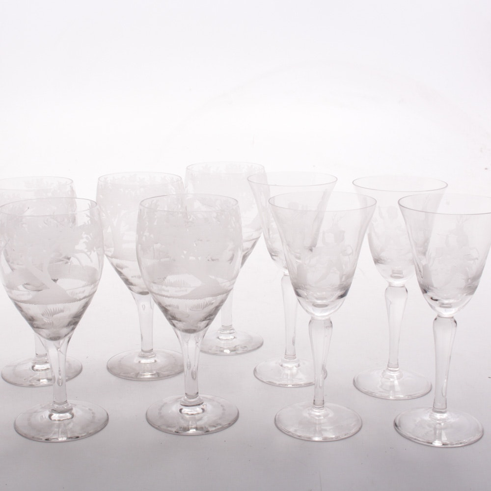 Stemware with Etched Intaglio Hunting Scene