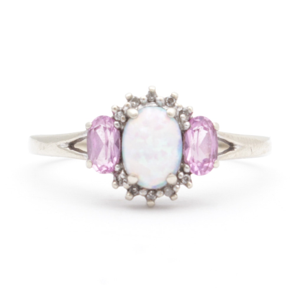10K White Gold Opal, Pink Topaz and Diamond Ring