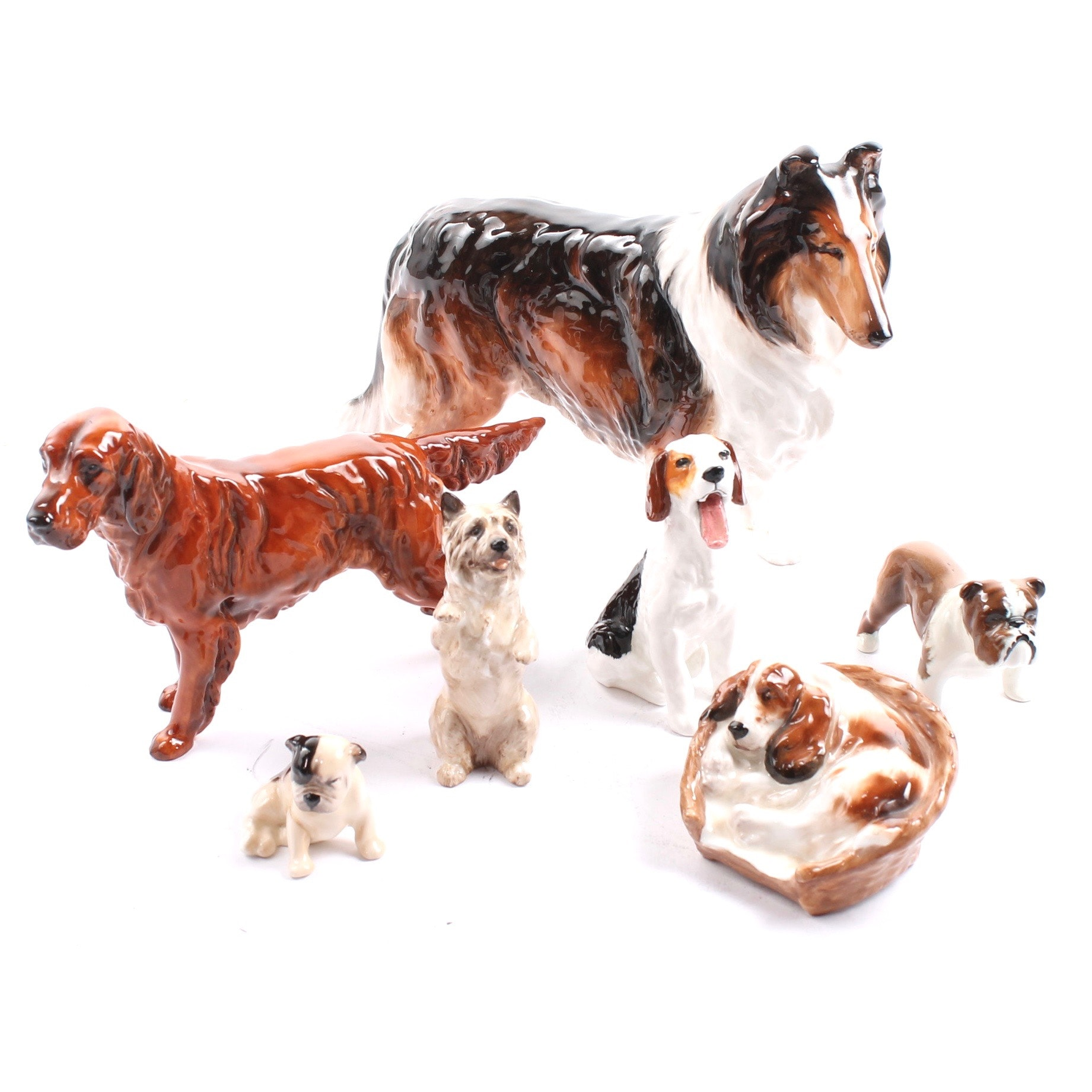 Royal Doulton and Beswick Porcelain Dog Figurines