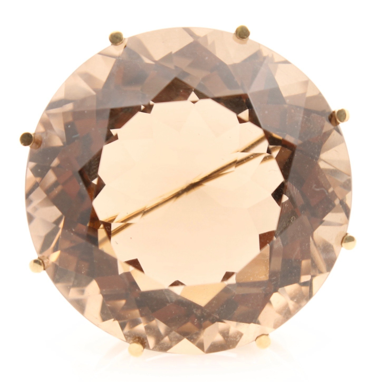 14K Yellow Gold Smoky Quartz Brooch