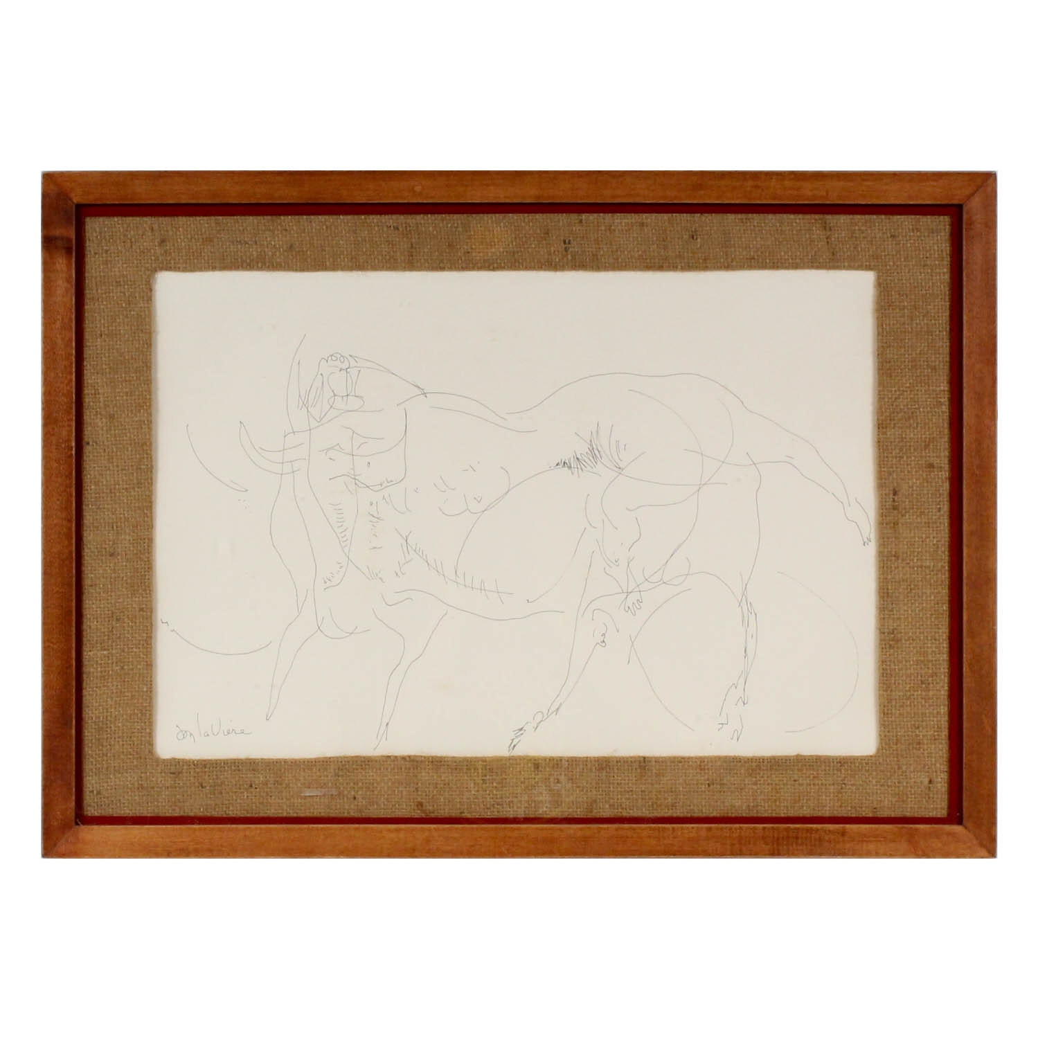 """Don LaViere Turner """"Women & Bull"""" Ink Drawing"""