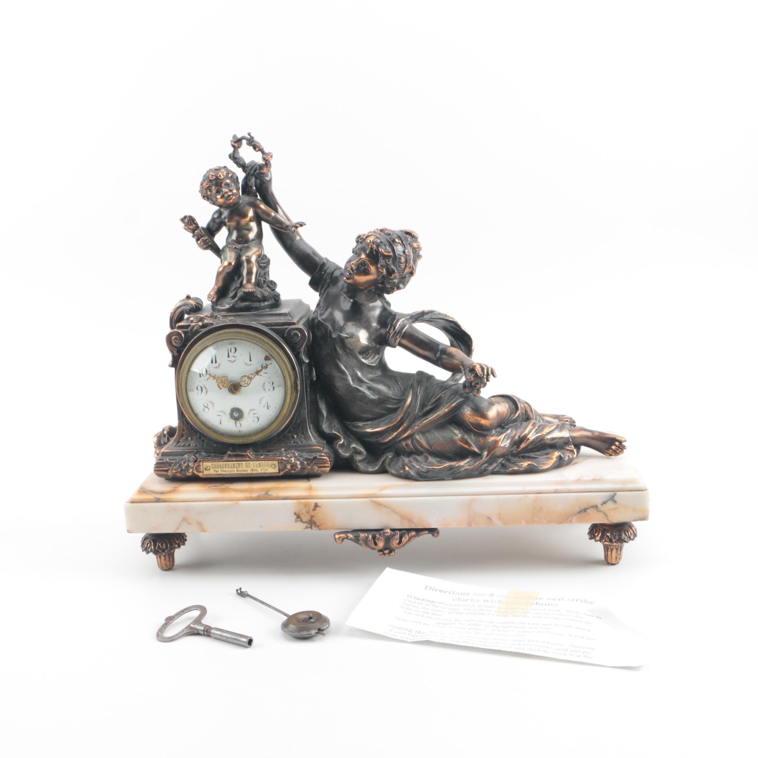 Antique French Figural Clock after Francois Moreau Sculpture