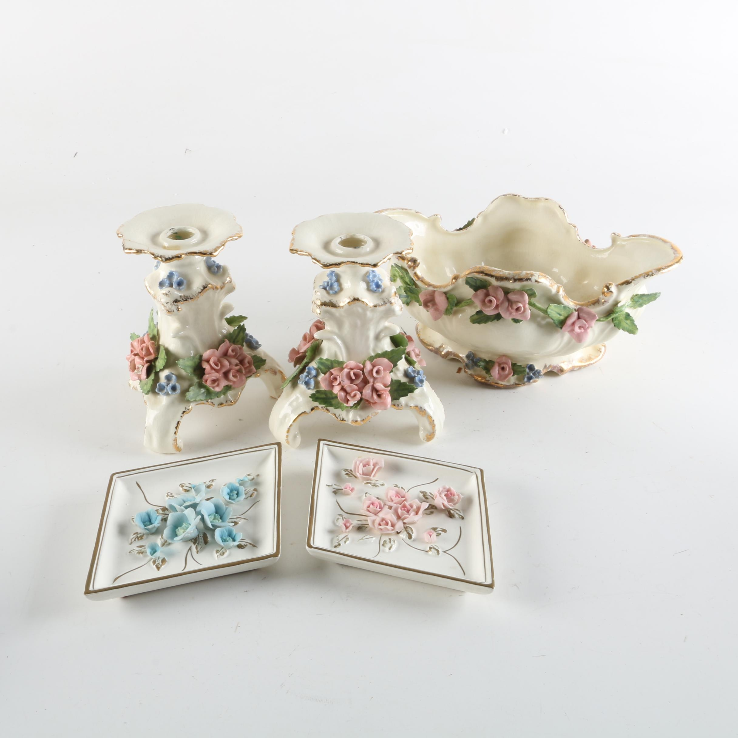 Vintage Capodimonte Style Bowl and Candlesticks with Lefton Wall Plaques